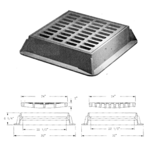 Measuring rectangular grate for Fabco catch basin insert