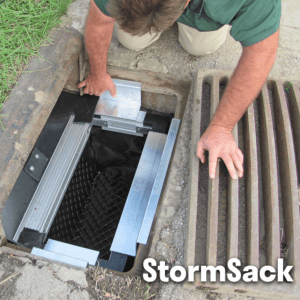 StormSack catch basin insert for pollutants sediments trash debris