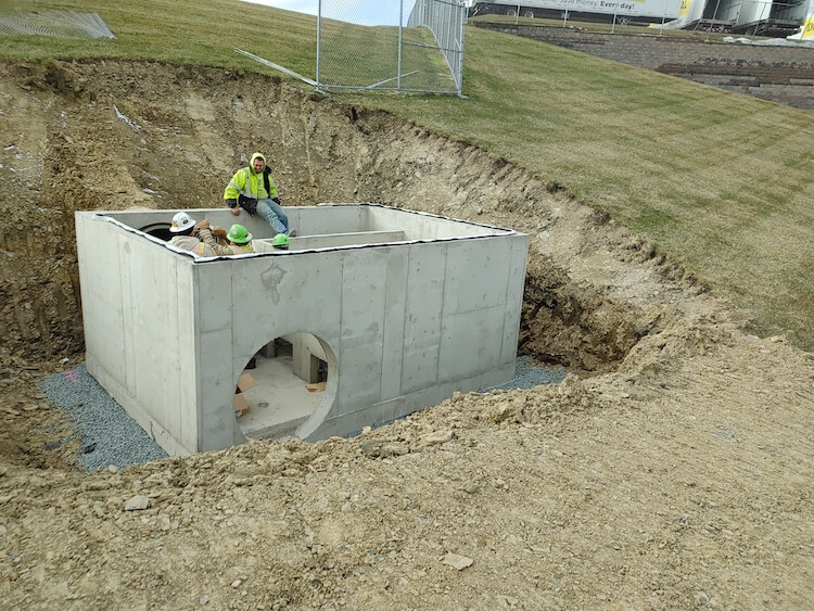 Stromwater filtration valt installation