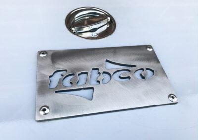 close up of plasma cut fabco logo