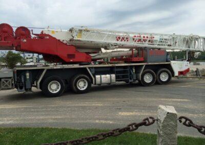 crane truck to move stormsafe cartridge vault