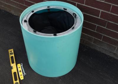 fabco industries rain garden overflow geotextile stormwater filter bag installed