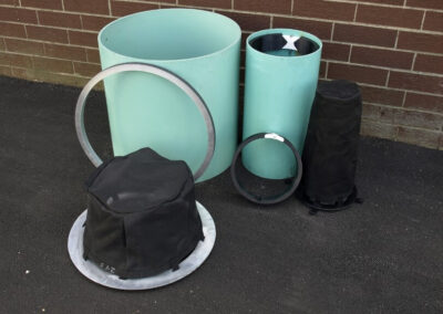 fabco industries rain garden overflow stormwater filter harco unit expanding ring and stormsack disassembled