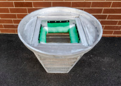 fabco industries screenbox grate inlet skimmer trash and debris capture device old tapered model oil boom down