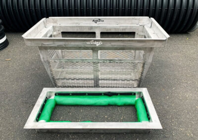 fabco industries screenbox grate inlet skimmer trash and debris capture device rectangular configuration oil boom disassembled