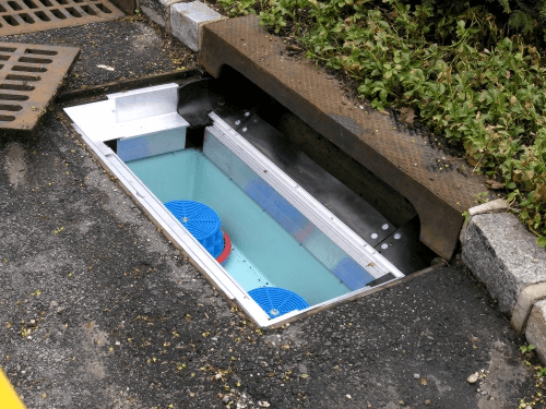 fabco industries stormbasin cartridge based stormwater filter system plastic basin installed