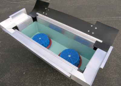 fabco industries stormbasin cartridge based stormwater filter system plastic basin rubber flange close up