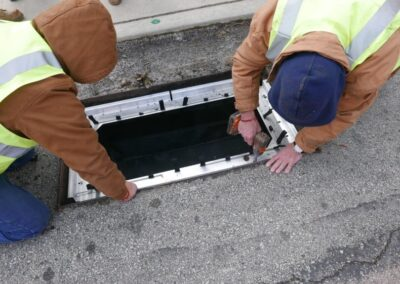 fabco industries stormsack bmp geotextile stormwater filter bag flange install
