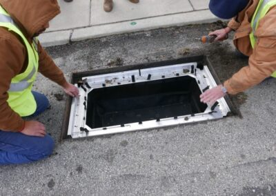 fabco industries stormsack bmp geotextile stormwater filter bag grate installation