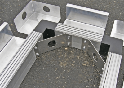 fabco industries stormsack plus geotextile stormwater filter system frame assembly close up