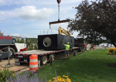 fabco industries stormsafe cartridge vault stormwater filter system 32 cartridge configuration on truck being delivered