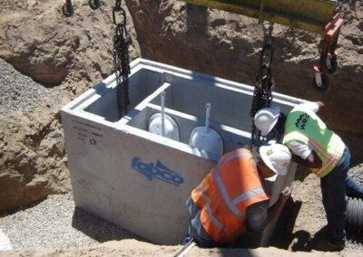 fabco industries stormsafe cartridge vault stormwater filter system installation open top
