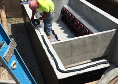 fabco industries stormsafe cartridge vault stormwater filter system installation preparing for top cover