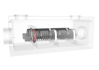 fabco industries stormsafe helix filter vault dual configuration render transparent