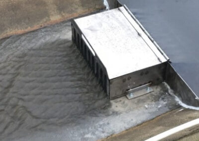 flume filter in use stormwater flow direction