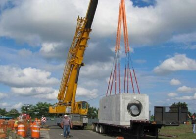 moving stormsafe with crane for helix stormwater filter installation 2