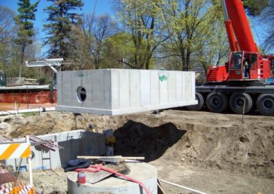 moving stormsafe with crane for helix stormwater filter installation