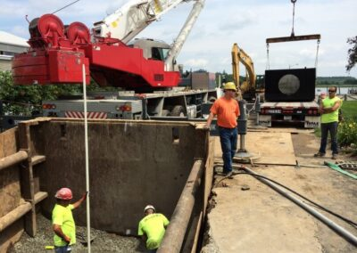 moving the 32 cartridge stormsafe vault with crane