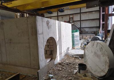 precast stormwater filtration vault being built