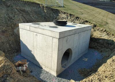 precast stormwater filtration vault in ground