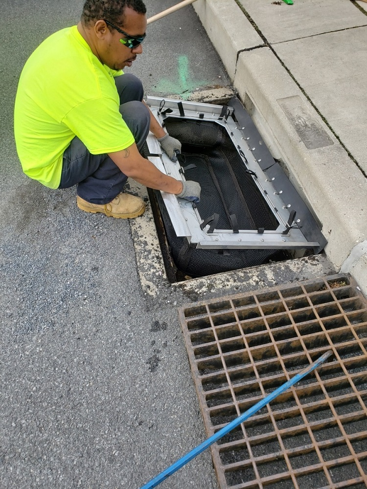 stormsack catch basin insert filter geotextile bag installation at fountain hill